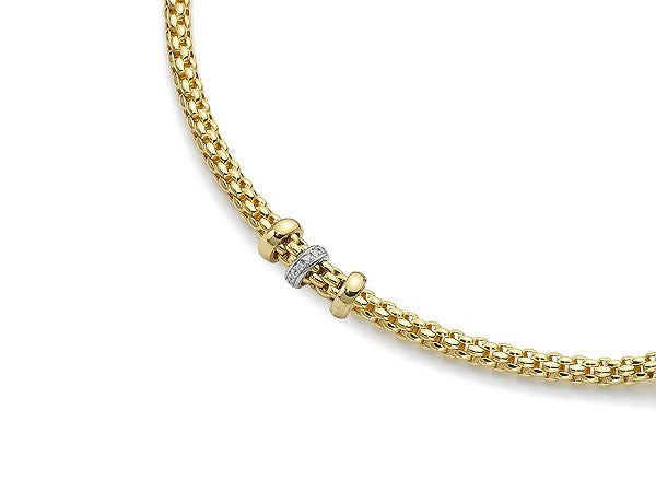 18ct Yellow Gold Diamond Flex'it Niue Necklace, 0.19ct