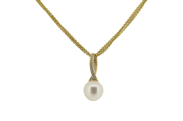 18ct Yellow Gold & Diamond Set South Sea Pearl Pendant, 0.26ct