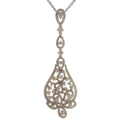 18ct White Gold & Diamond Filigree Pendant, 2.69cts