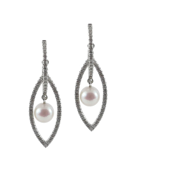 18ct White Gold Akoya Pearl & Diamond Drop Earrings, 0.52ct