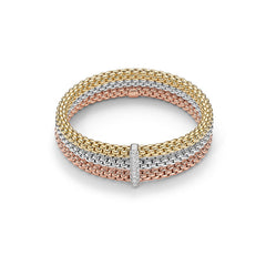 18ct Tri-Colour Gold & Diamond Flex'it Solo Bracelet, 0.34ct