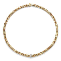 18ct Yellow Gold Flex'it Vendome Necklace, 0.10ct