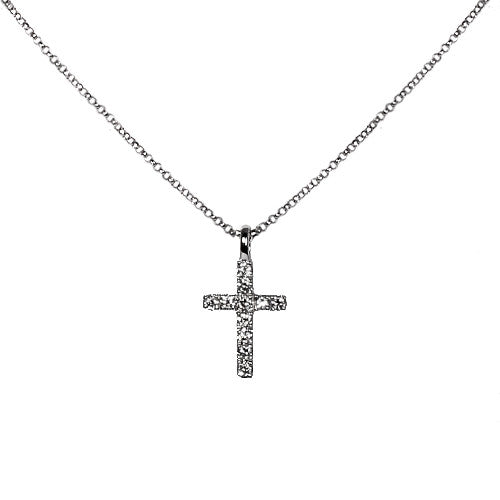 18ct White Gold & Diamond Cross Pendant, 0.10ct