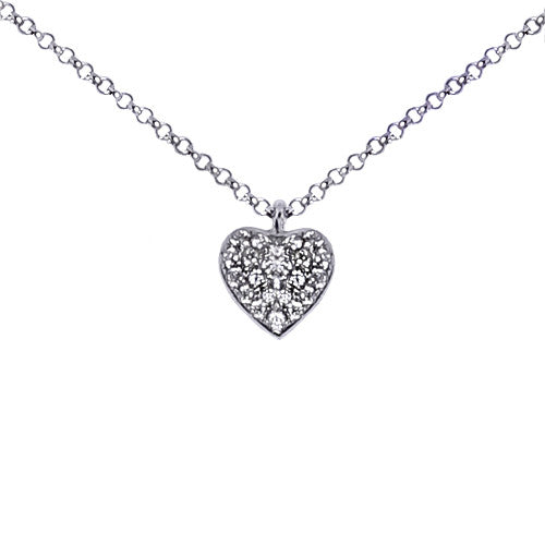 18ct White Gold & Diamond Pave Heart, 0.45ct