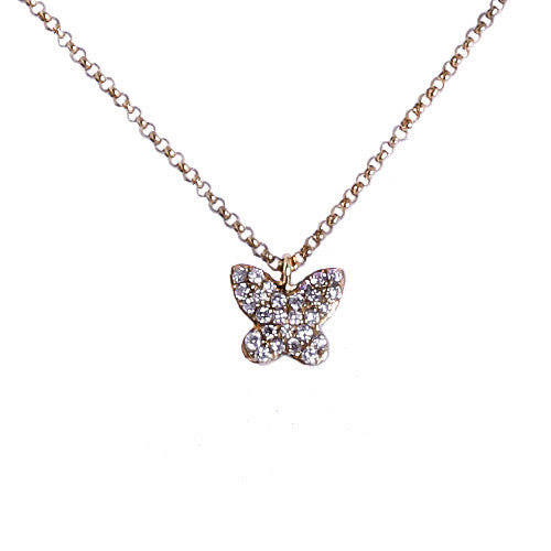 18ct Yellow Gold Pave Diamond Butterfly Pendant, 0.14ct