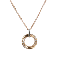 18ct Rose Gold & Diamond Circle Pendant, 0.09ct