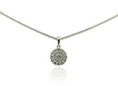 18ct White Gold Multi Diamond Circle Pendant, 0.50ct