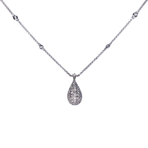 18ct White Gold Pave Set Diamond Spectacle Pendant, 0.93ct