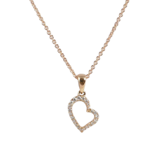 18ct Rose Gold Diamond Heart Pendant, 0.11ct
