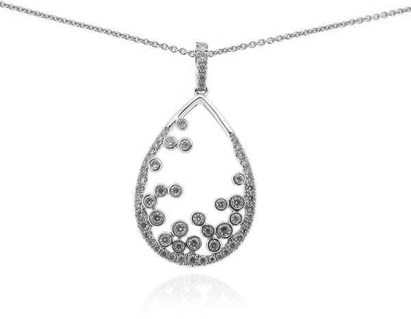18ct White Gold & Diamond Open Teardrop Pendant, 0.56ct