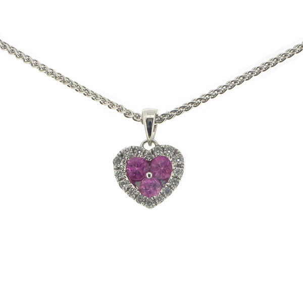 18ct White Gold Diamond & Pink Sapphire Heart Pendant