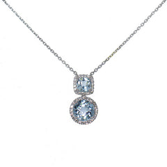 18ct White Gold Diamond & Blue Topaz Pendant, 0.45ct