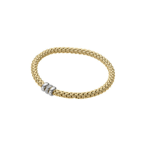 18ct Yellow Gold & Diamond Flex'it Solo Bracelet, 0.10ct