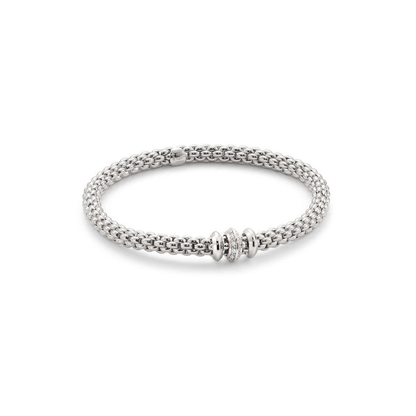 18ct White Gold & Diamond Flex'it Solo Bracelet, 0.17ct - from
