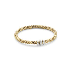 18ct Yellow Gold & Diamond Flex'it Solo Bracelet, 0.17ct