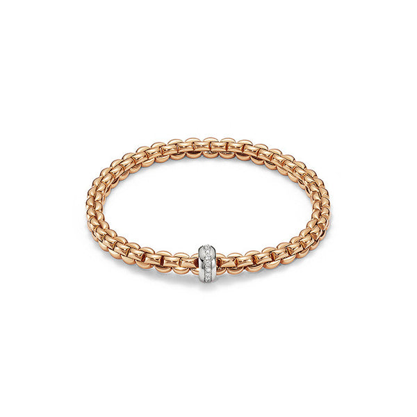 18ct Rose Gold & Diamond Flex'it Olly Bracelet, 0.15ct - from