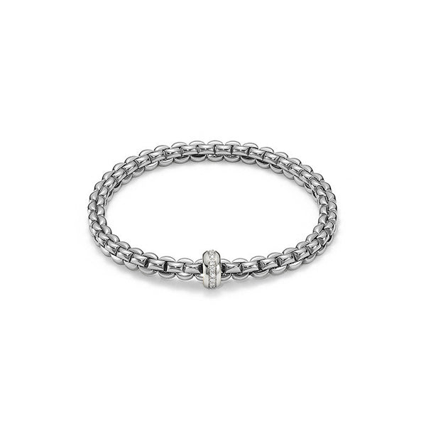 18ct White Gold & Diamond Flex'it Olly Bracelet, 0.15ct - from