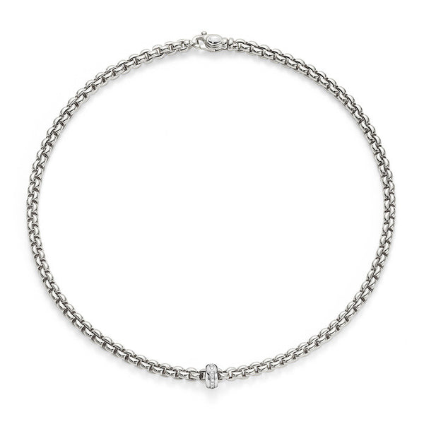 18ct White Gold & Diamond Flex'it Olly Necklace, 0.15ct