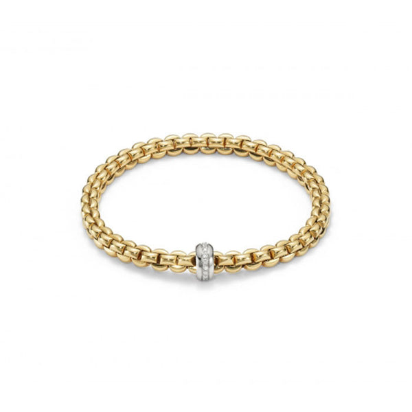 18ct Yellow Gold & Diamond Flex'it Olly Bracelet, 0.15ct
