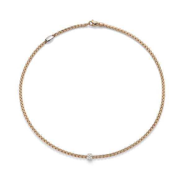 18ct Rose Gold & Diamond Eka Tiny Rope Necklace, 0.19ct