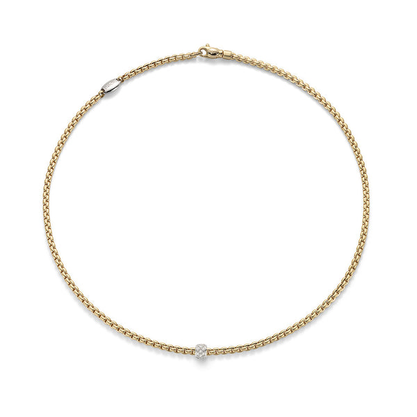 18ct Yellow Gold & Diamond Eka Tiny Rope Necklace, 0.19ct