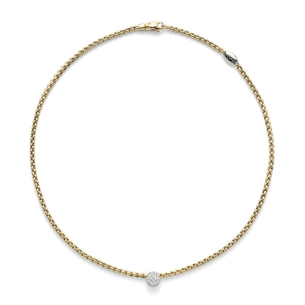 18ct Yellow Gold & Diamond Tiny Eka Rope Necklace, 0.22ct