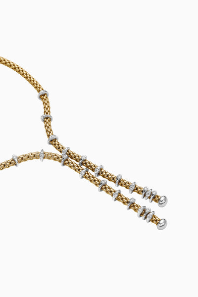 18ct Yellow Gold and Diamond Pave set Lariat Necklace, 0.30ct