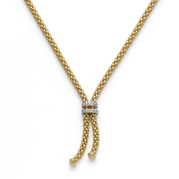 18ct Yellow Gold & Diamond Maori Lariat Necklace, 0.09ct