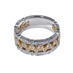 18ct White & Yellow Gold Diamond Set Ring, 0.63ct