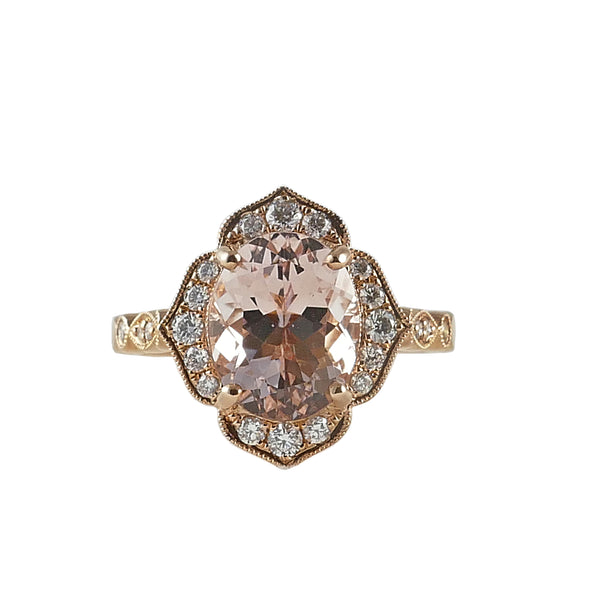 18ct Rose Gold Morganite and Diamond Cluster Ring