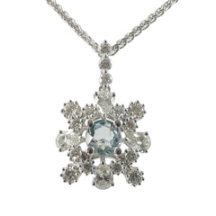 18ct White Gold Diamond & Aquamarine Pendant