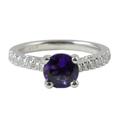 Platinum Diamond & Amethyst Ring, 0.41ct
