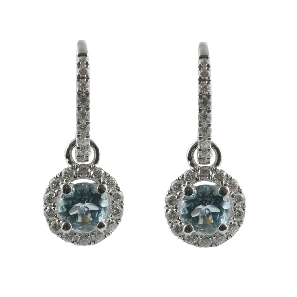 18ct White Gold Aquamarine & Diamond Drop Earrings