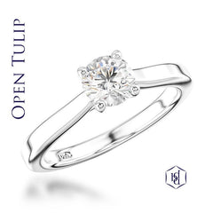 Open Tulip Round Brilliant Cut Platinum Solitaire Ring, 0.53ct