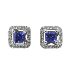 18ct White Gold Tanzanite & Diamond Stud Earrings, 0.15ct