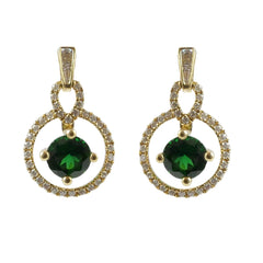 18ct Yellow Gold Tsavorite & Diamond Drop Earrings, 0.25ct
