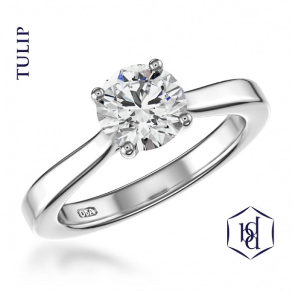 Tulip Round Brilliant Cut Platinum Solitaire Ring, 0.31ct