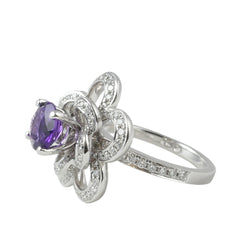 18ct White Gold Amethyst & Diamond Ring, 0.65ct