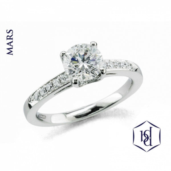 Mars Round Brilliant Cut Platinum Solitaire Diamond Ring, 1.20cts
