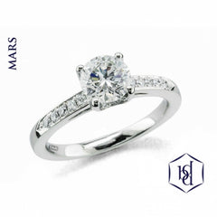 Mars Round Brilliant Cut Platinum Solitaire Diamond Ring, 1.06cts