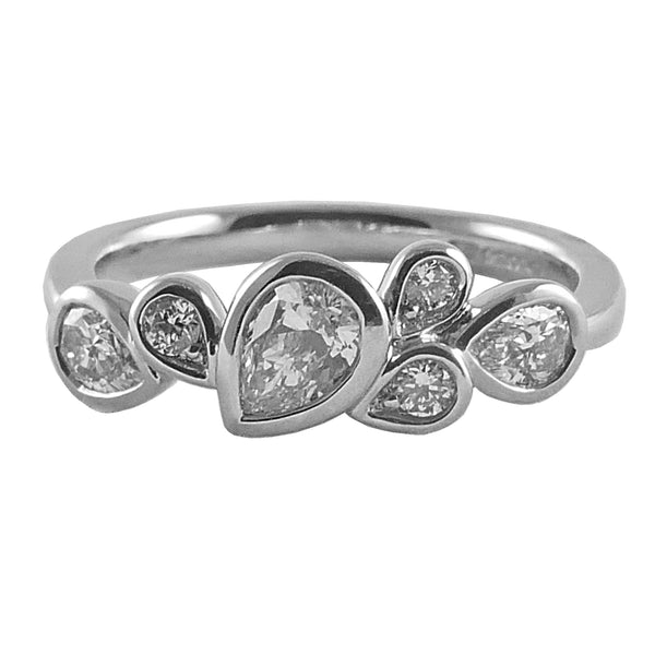 Platinum Pear Diamond Ring, 0.64ct