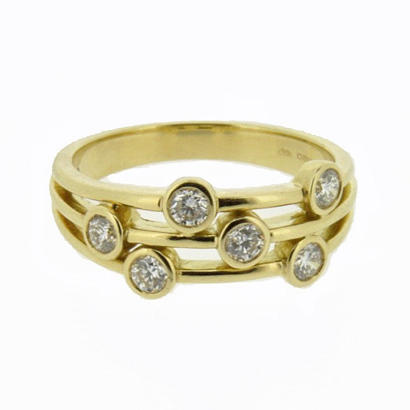 18ct Yellow Gold Scatter Diamond Ring