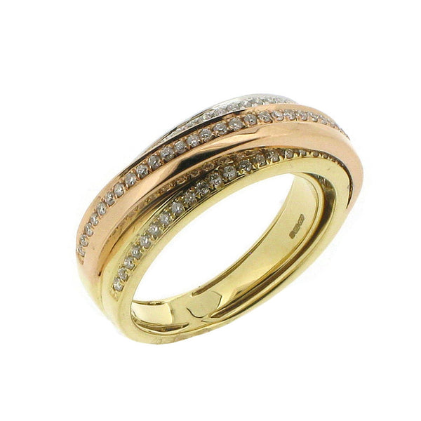 18ct Yellow, White & Rose Gold Diamond Ring, 0.33ct