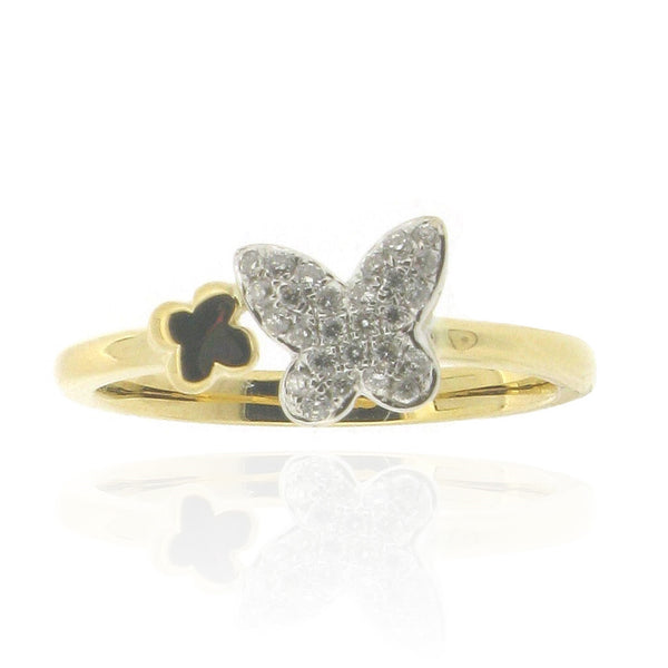 18ct Yellow Gold Butterfly Diamond Ring, 0.13ct