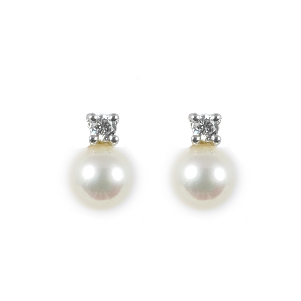 18ct White Gold Akoya Pearl & Diamond Stud Earrings, 0.10ct
