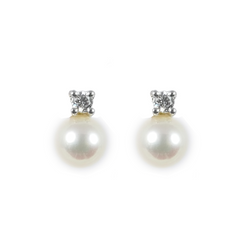 18ct White Gold Akoya Pearl & Diamond Stud Earrings, 0.20ct