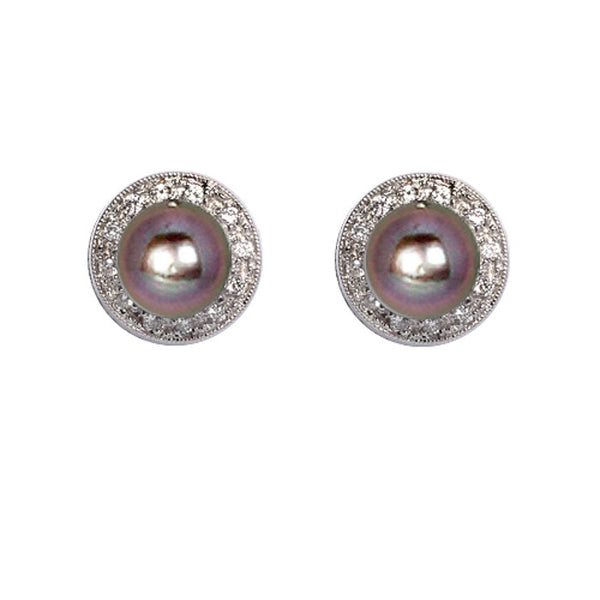 18ct White Gold & Diamond Pearl Stud Earrings, 0.17ct