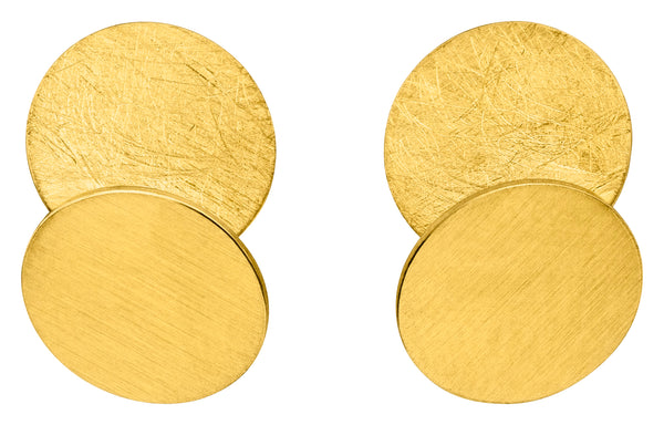 14ct Yellow Gold Double Disc Stud Earrings