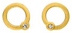14ct Yellow Gold & Diamond Circle Stud Earrings , 0.04ct