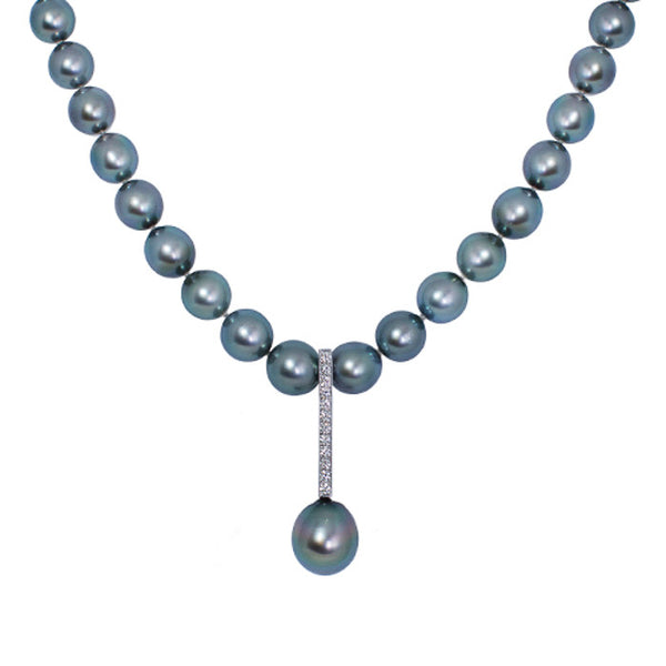 Tahitian Pearl & Diamond Necklace, 0.40ct